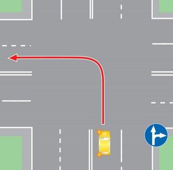 Поворот налево в нарушение требований, предписанных дорожными знаками.