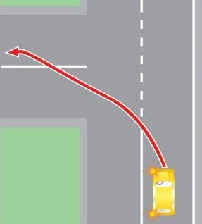 Выезд в нарушение правил дорожного движения, предназначенную для встречного движения, при повороте налево.