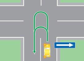 Разворот на перекрестке, имеющем одно пересечение проезжих частей.