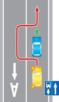 Выезд в нарушении требований, предписанных дорожными знаками и (или) разметкой проезжей части дороги, на полосу маршрутных транспортных средств, предназначенную для встречного движения.