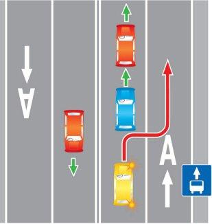 Движение по полосе маршрутных транспортных средств (общественная полоса).
