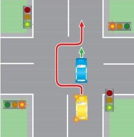 Обгон на регулируемом перекрестке.