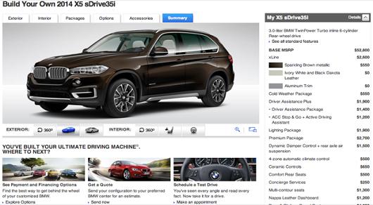 Появился официальный конфигуратор BMW X5 2014
