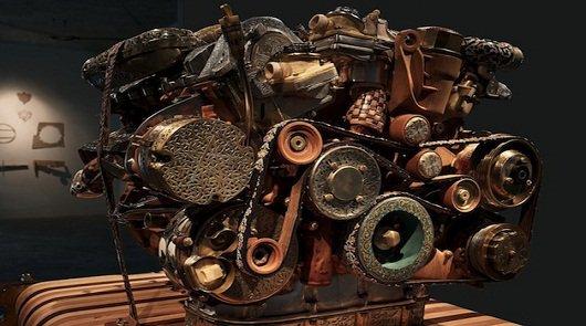 Невероятная скульптура двигателя Мерседес-Бенц V12