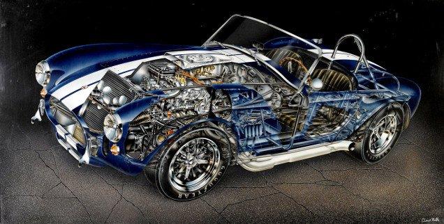 28 редких иллюстрации классических автомобилей в разрезе