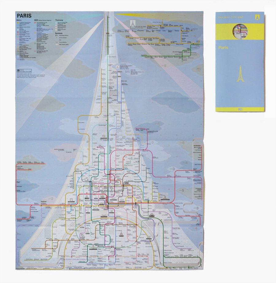 Еще одна дизайнерская карта транспортной системы, которая выполнена в оригинальном стиле это карта метро Парижа