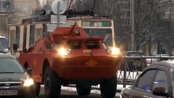 Бронированная военная машина превратилась в такси