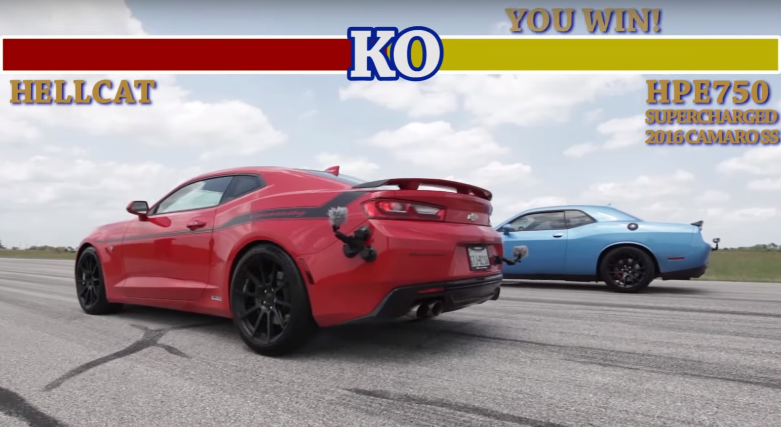 Кто быстрее, тюнингованный Hennessey Camaro SS или Challenger Hellcat?