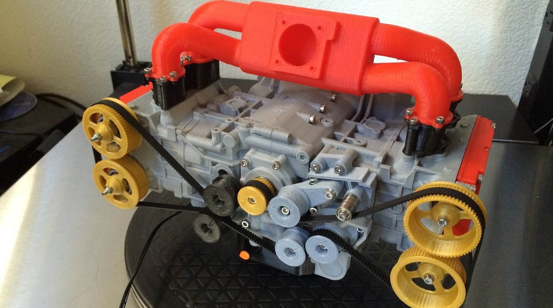 Рабочая модель оппозитного двигателя Subaru EJ20 напечатанная на 3D принтере [Видео]