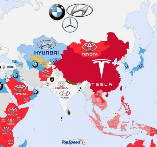 Популярность автомобилей по странам мира