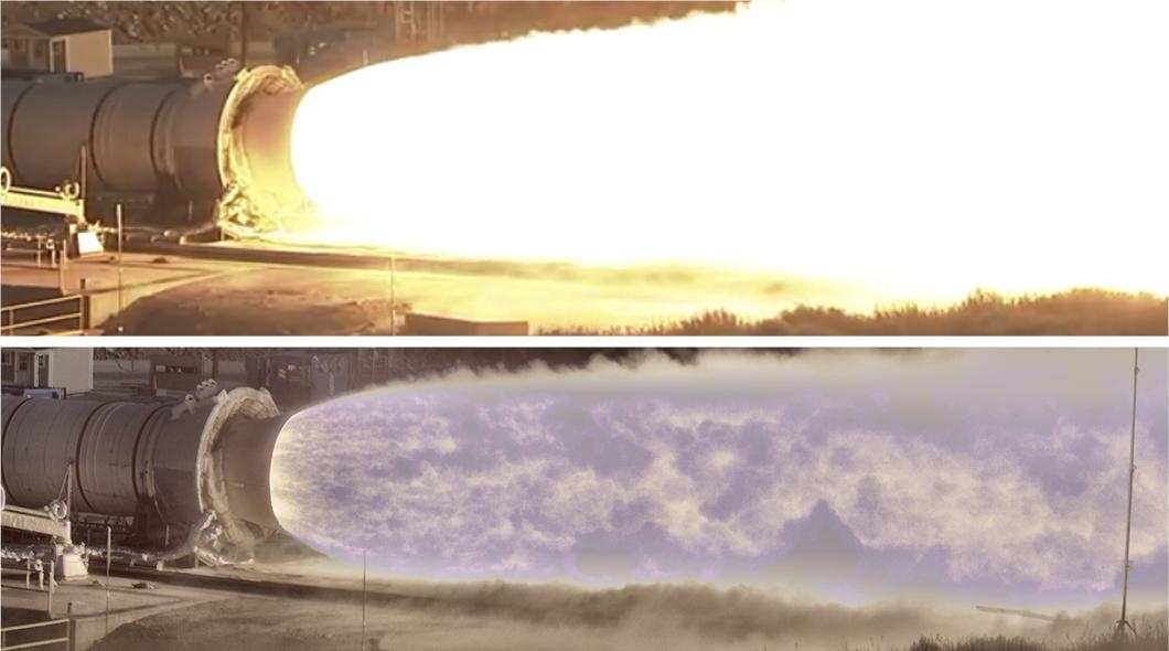 Тестирование ступени ракеты, снятое на новую высокотехнологичную камеру NASA