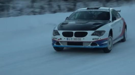 Смотрите мастерство зимнего вождения за рулем BMW 650i