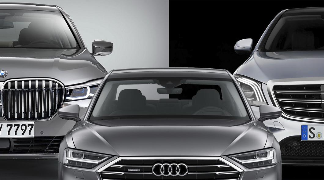 сравнение рестайлингового 2019 Bmw 7 Series против Audi A8 и против